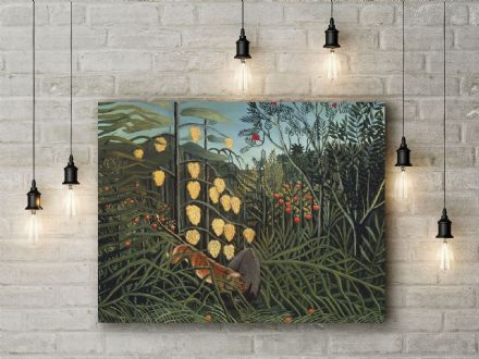 Henri Rousseau: Tropical Forest - Battling Tiger and Buffalo. Fine Art Canvas.